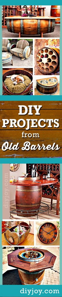 DIY Projects Made From Old Barrels | Cool DIY Furniture and Decor Ideas at http://diyjoy.com/wine-barrel-diy-projects