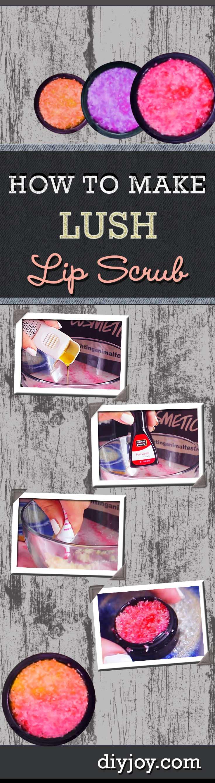 Easy DIY Beauty Recipes - Homemade Lush Lip Scrub Tutorial. Super DIY Project Idea for Teens. at http://diyjoy.com/diy-lip-scrub-lush-copycat-recipe