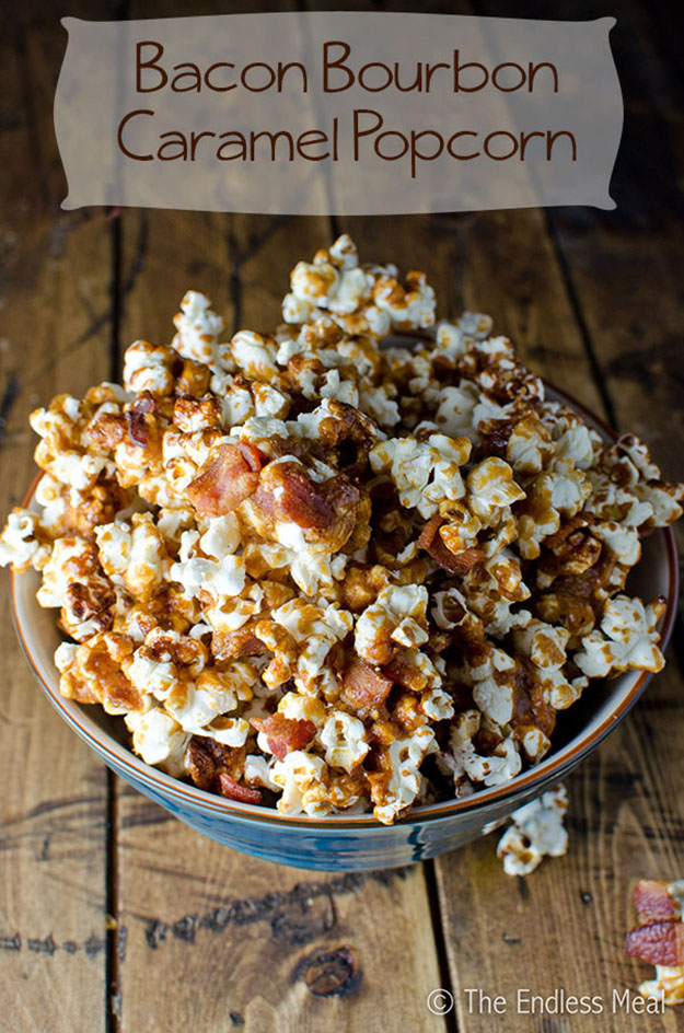 Cheap Party Food Ideas for Adults | Bacon Bourbon Caramel Popcorn Recipe | DIY Projects & Crafts by DIY JOY #appetizers #partyfood #recipes
