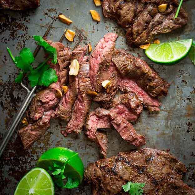 Healthy Steak Grilling Recipes | Easy BBQ Recipe Ideas | Thai Coconut Skirt Steak Recipe | DIY Projects & Crafts by DIY JOY at http://diyjoy.com/grilling-recipes-diy-bbq-ideas