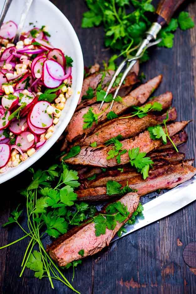 Easy Steak Grilling Recipes | Flank Steak BBQ Recipe Idea with Corn & Radish Salad | DIY Projects & Crafts by DIY JOY at http://diyjoy.com/grilling-recipes-diy-bbq-ideas