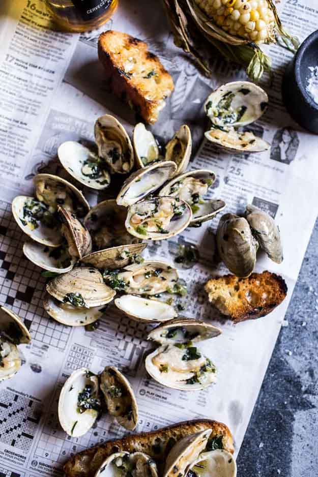 Simple Seafood Grilling Recipes | Low Carb BBQ Recipe Ideas | Grilled Clams with Charred Jalapeno Basil Butter | DIY Projects & Crafts by DIY JOY at http://diyjoy.com/grilling-recipes-diy-bbq-ideas