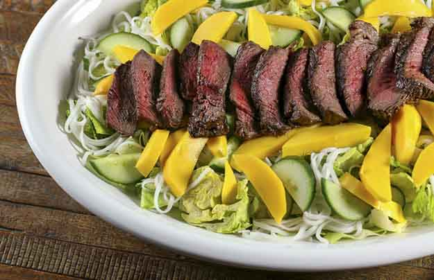 Quick Beef Grilling Recipes | Easy Steak Grilling Recipe | Ginger Bourbon & Garlic Grilled Steak with Mango Noodles | DIY Projects & Crafts by DIY JOY at http://diyjoy.com/grilling-recipes-diy-bbq-ideas