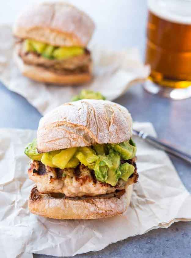 Turkey Burger Grilling Recipe | Quick & Easy BBQ Ideas | Grilled Turkey Burger with Avocado & Pineapple Salsa | DIY Projects & Crafts by DIY JOY at http://diyjoy.com/grilling-recipes-diy-bbq-ideas