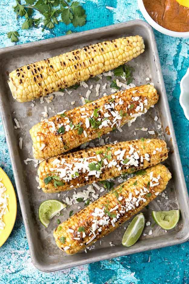 Simple Vegetarian Grilling Recipe | Grilled Mexican Corn Recipe | DIY Projects & Crafts by DIY JOY at http://diyjoy.com/grilling-recipes-diy-bbq-ideas