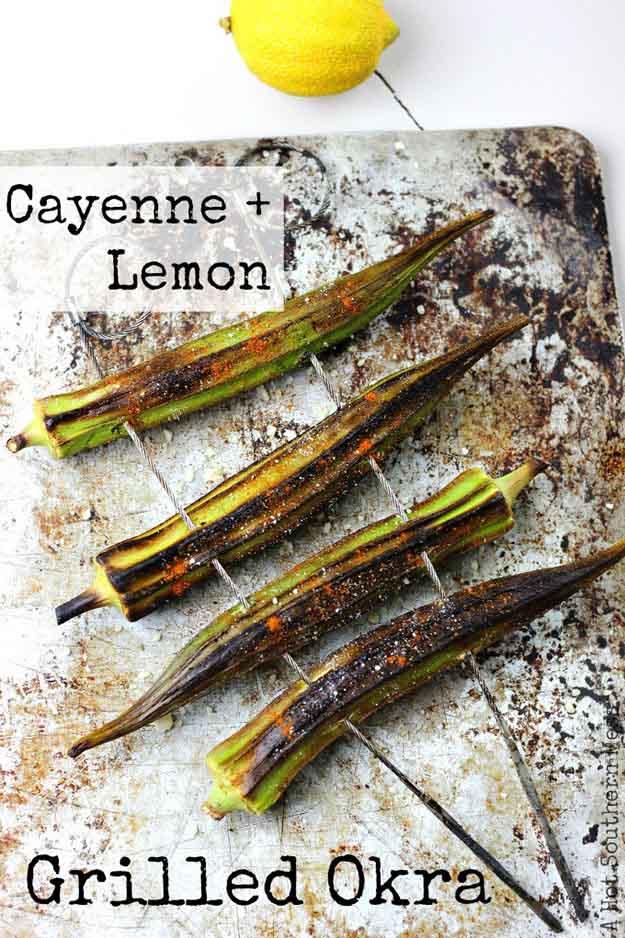 Grilling Summer Vegetable Recipes | Cayenne & Lemon Grilled Okra | DIY Projects & Crafts by DIY JOY at http://diyjoy.com/grilling-recipes-diy-bbq-ideas