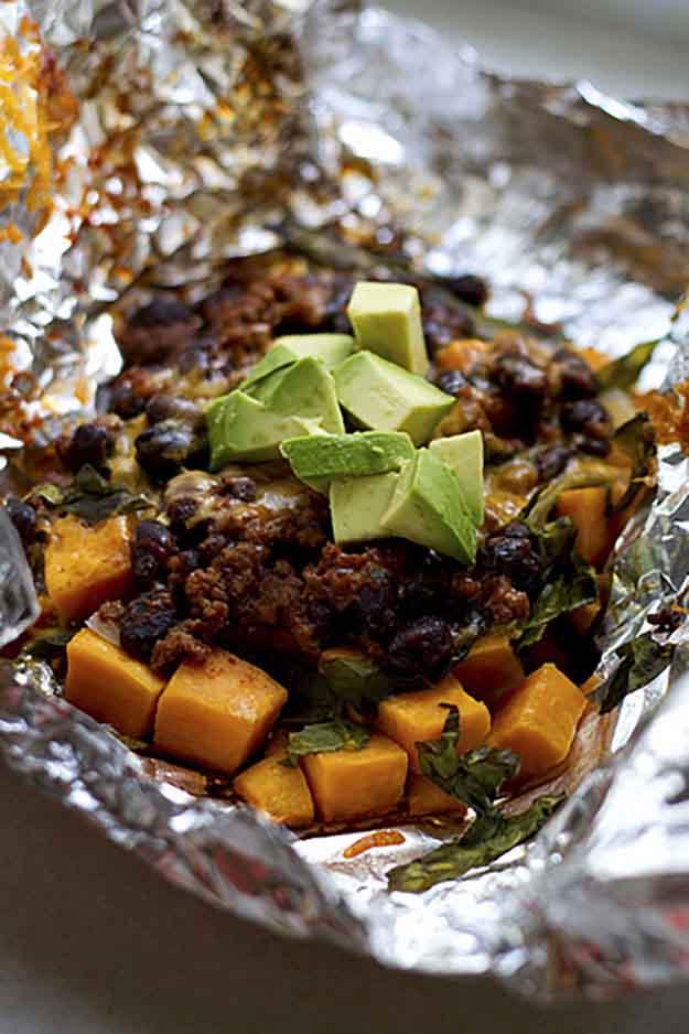 Easy Vegetarian Foil Grilling Recipe | Healthy Vegetable Grilling Idea | Sweet Potato Taco Filling Recipe | DIY Projects & Crafts by DIY JOY at http://diyjoy.com/grilling-recipes-diy-bbq-ideas