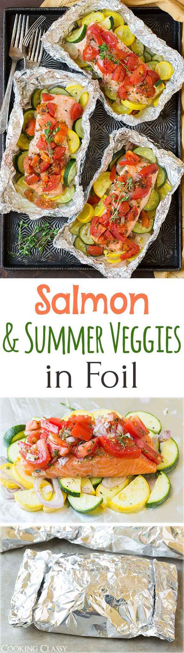 Paleo Fish Dinner Grilling Recipes | Salmon & Vegetable Foil Packets | Grilled Salmon & Veggies in Foil | DIY Projects & Crafts by DIY JOY at http://diyjoy.com/grilling-recipes-diy-bbq-ideas