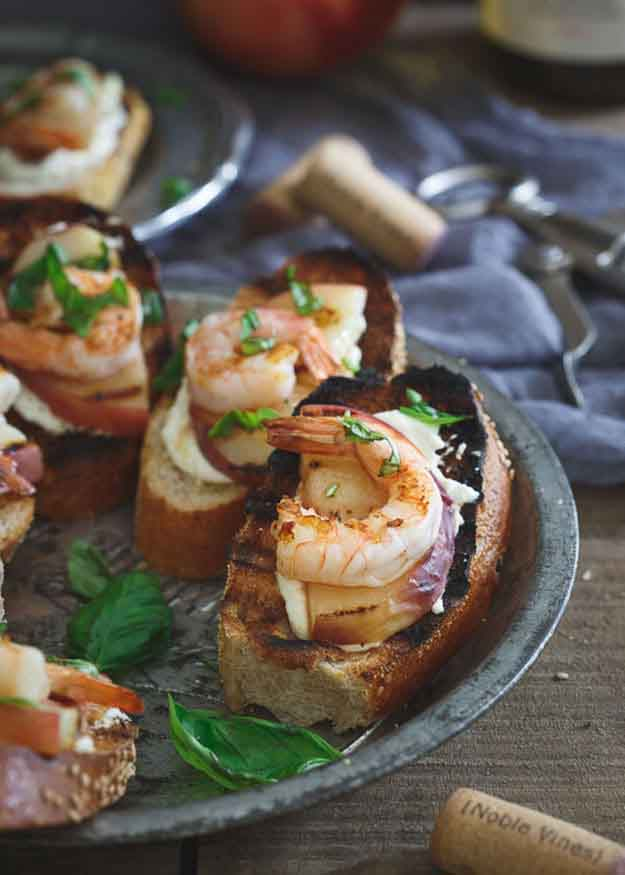Shrimp Grilling Recipes | Appetizer Recipe Ideas | Shrimp & Peach Crostini | DIY Projects & Crafts by DIY JOY at http://diyjoy.com/grilling-recipes-diy-bbq-ideas