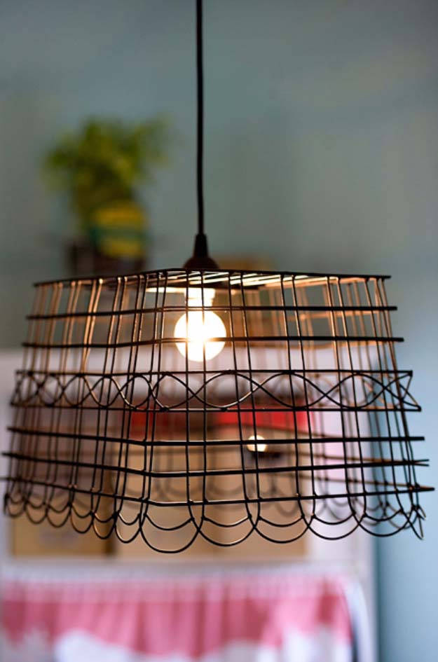 DIY Lighting Ideas and Cool DIY Light Projects for the Home. Chandeliers, lamps, awesome pendants and creative hanging fixtures,  complete with tutorials with instructions | Anthropologie Knockoff DIY Basket Light | http://diyjoy.com/diy-projects-lighting-ideas