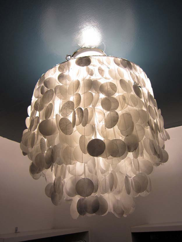 DIY Lighting Ideas and Cool DIY Light Projects for the Home. Chandeliers, lamps, awesome pendants and creative hanging fixtures,  complete with tutorials with instructions | Capriz Shell Lookalike DIY Wax Paper Chandelier | http://diyjoy.com/diy-projects-lighting-ideas