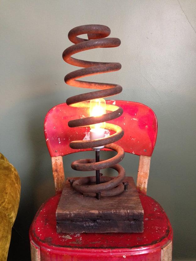 Recycled Old Car Parts - Car Spring DIY Lamp - DIY Projects & Crafts by DIY JOY #diy