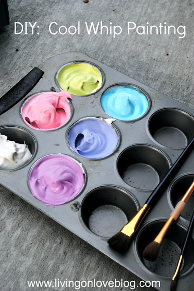 Easy Arts & Crafts for Kids to Make | DIY Cool Whip Paint | DIY Projects & Crafts by DIY JOY at http://diyjoy.com/pinterest-crafts-for-kids-diy-paint