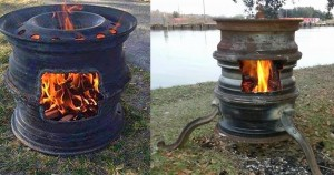 Easy DIY Fire Pit Tutorials | Repurposed Old Tire Rims to DIY Fire Pit | DIY Projects & Crafts by DIY JOY at http://diyjoy.com/backyard-ideas-diy-fire-pit-upcycyled-tires