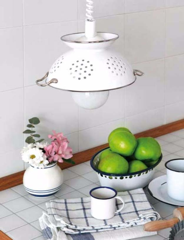 DIY Lighting Ideas and Cool DIY Light Projects for the Home. Chandeliers, lamps, awesome pendants and creative hanging fixtures,  complete with tutorials with instructions | DIY Pendant Light from Colander | http://diyjoy.com/diy-projects-lighting-ideas