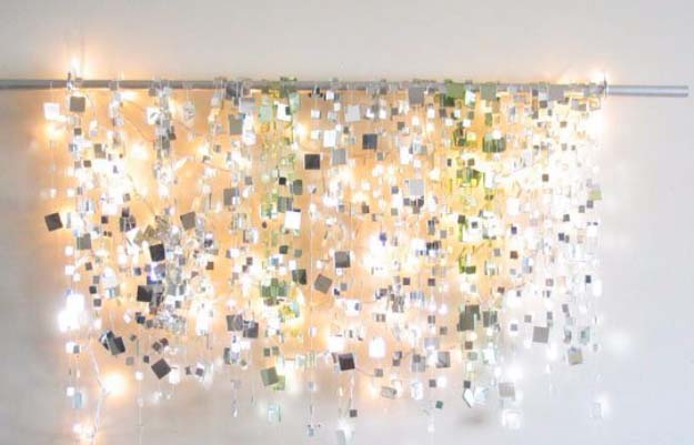 DIY Lighting Ideas and Cool DIY Light Projects for the Home. Chandeliers, lamps, awesome pendants and creative hanging fixtures,  complete with tutorials with instructions | DIY Sparkle Mirror Lights | http://diyjoy.com/diy-projects-lighting-ideas