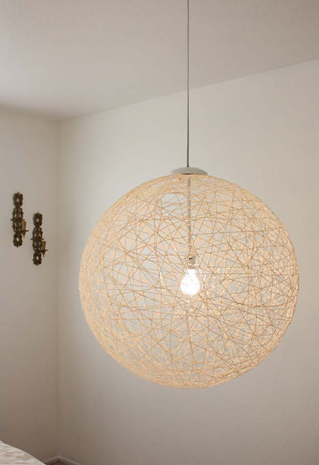DIY Lighting Ideas and Cool DIY Light Projects for the Home. Chandeliers, lamps, awesome pendants and creative hanging fixtures,  complete with tutorials with instructions | DIY String Globe Pendant Light | http://diyjoy.com/diy-projects-lighting-ideas