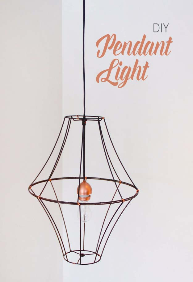 DIY Lighting Ideas and Cool DIY Light Projects for the Home. Chandeliers, lamps, awesome pendants and creative hanging fixtures,  complete with tutorials with instructions | Double Lampshade DIY Pendant Light | http://diyjoy.com/diy-projects-lighting-ideas