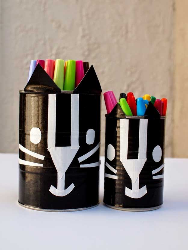 Easy DIY Halloween Decorations   Quick Ideas for Adults, Kids and Teens   Black Cat Duck Tape Containers