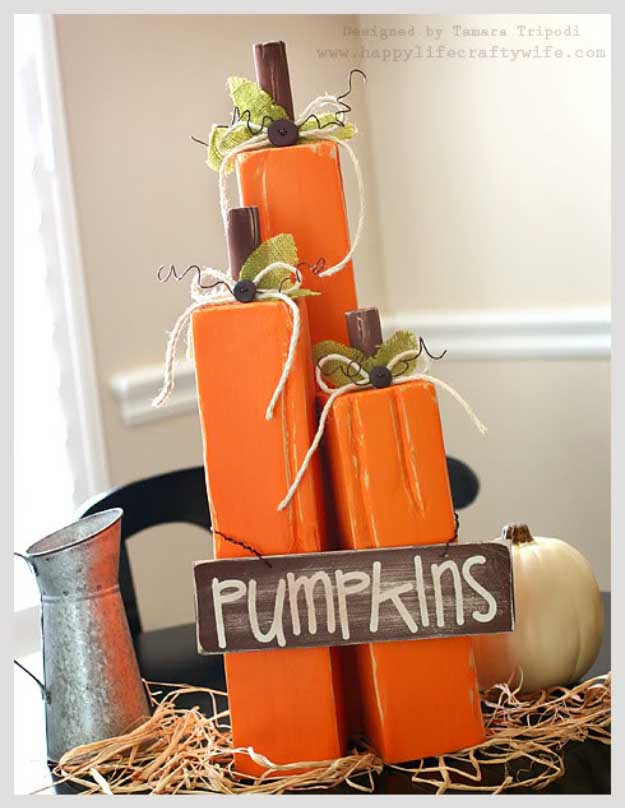 Easy DIY Halloween Decorations   Quick Ideas for Adults, Kids and Teens   4 x 4 wood pumkin decor
