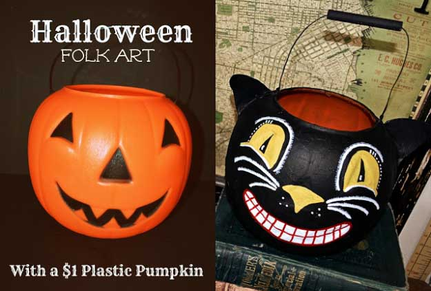 Easy DIY Halloween Decorations   Quick Ideas for Adults, Kids and Teens   Vintage Style Folk Art Black Cat Halloween Bucket