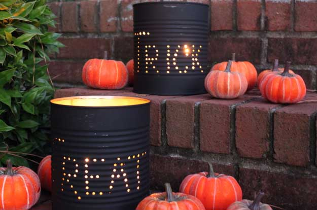 Easy DIY Halloween Decorations | Quick Ideas for Adults, Kids and Teens | DIY Tin Can Luminaries