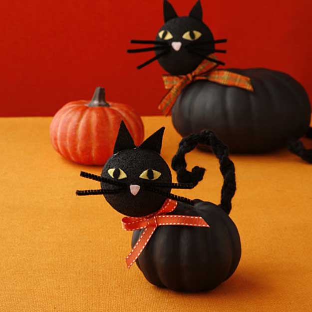 Easy DIY Halloween Decorations   Quick Ideas for Adults, Kids and Teens   Black Cat Pumpkin