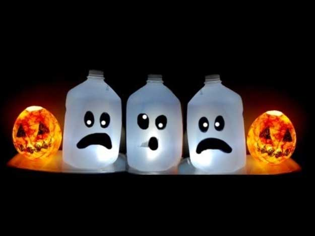 Easy DIY Halloween Decorations   Quick Ideas for Adults, Kids and Teens   cute ghost milk jugs
