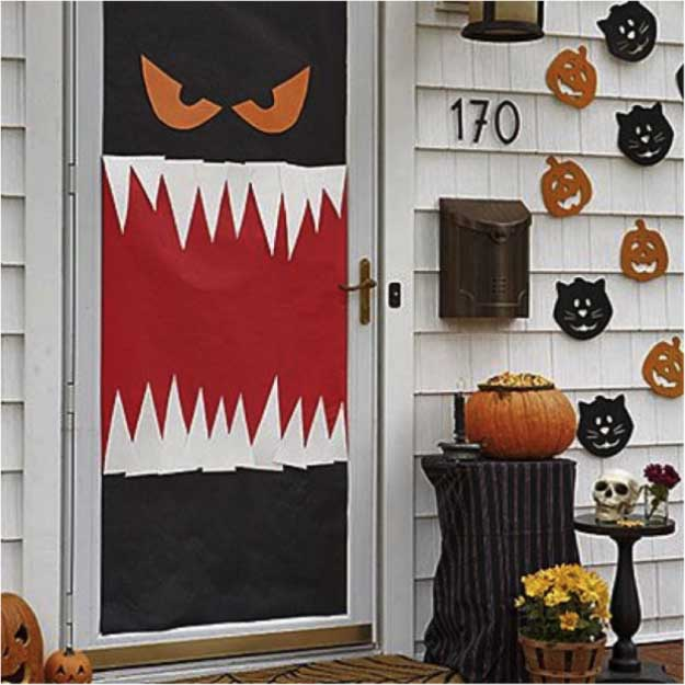 easy diy halloween decorations quick ideas for adults kids and teens monster door - Diy Halloween Decorations For Kids