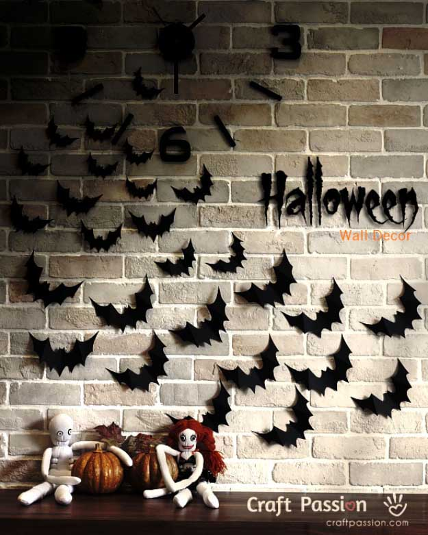 Easy DIY Halloween Decorations   Quick Ideas for Adults, Kids and Teens   Flying Bats Halloween wall decor