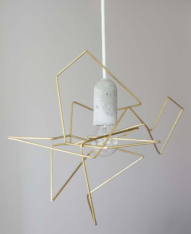 DIY Lighting Ideas and Cool DIY Light Projects for the Home. Chandeliers, lamps, awesome pendants and creative hanging fixtures,  complete with tutorials with instructions | Geometric DIY Light Fixture | http://diyjoy.com/diy-projects-lighting-ideas