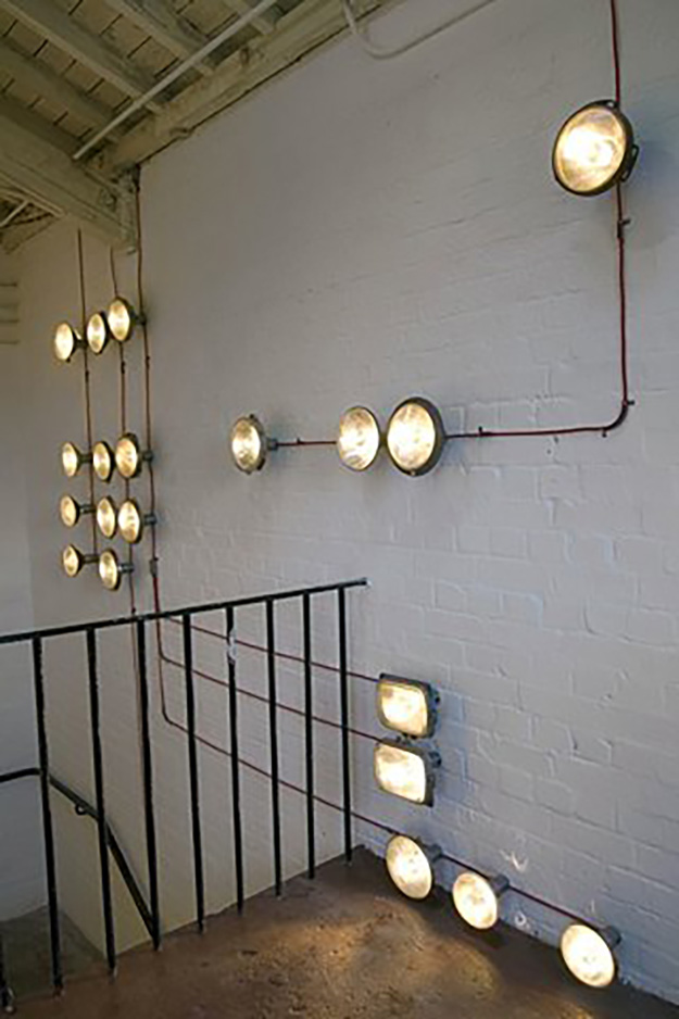 Upcycled Old Car Parts Ideas - Headlights Upcycled into DIY Lighting Installation - DIY Projects & Crafts by DIY JOY #diy