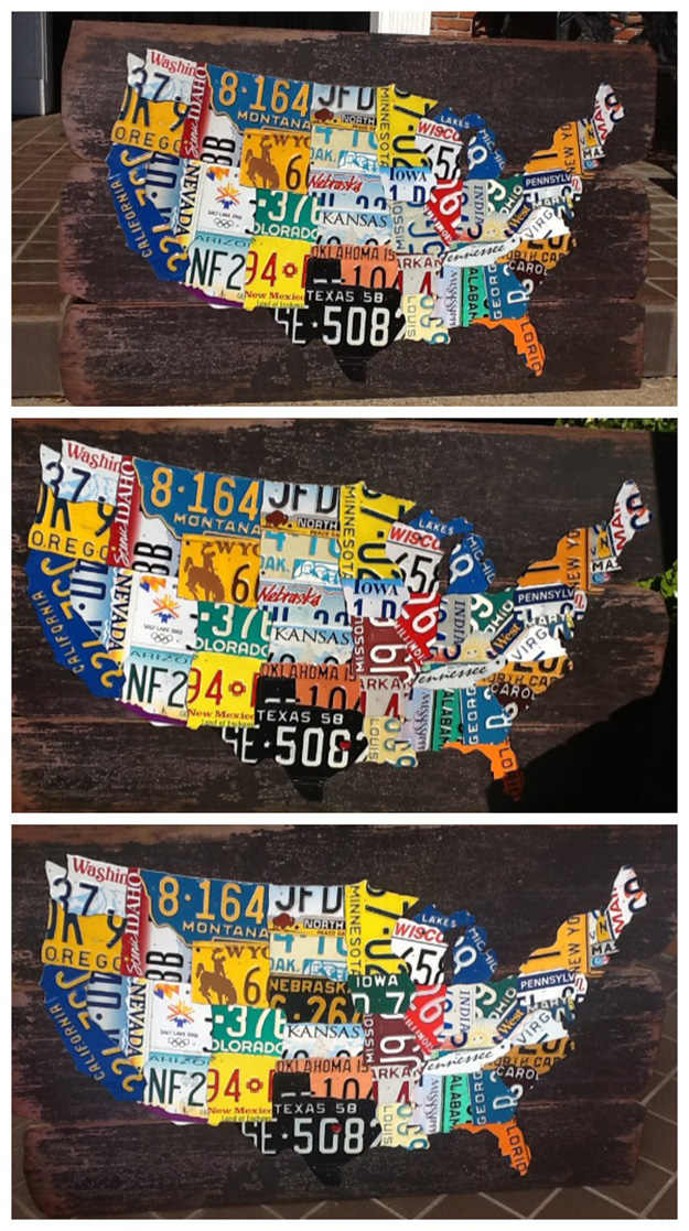 Recycled Old Car Parts - Upcycled License Plate DIY Map - DIY Projects & Crafts by DIY JOY #diy