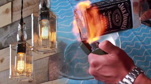 DIY Lighting Ideas and Cool DIY Light Projects for the Home. Chandeliers, lamps, awesome pendants and creative hanging fixtures,  complete with tutorials with instructions | Liquor Bottle Pendant Lights | http://diyjoy.com/diy-projects-lighting-ideas