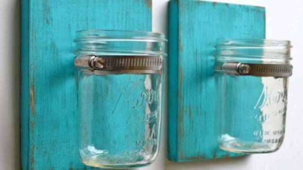 DIY Lighting Ideas and Cool DIY Light Projects for the Home. Chandeliers, lamps, awesome pendants and creative hanging fixtures,  complete with tutorials with instructions | Mason Jar Wall Sconce | http://diyjoy.com/diy-projects-lighting-ideas