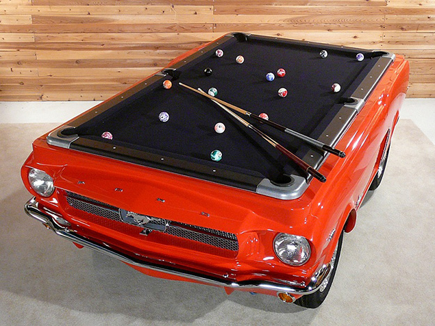 Repurposed Old Car Parts Ideas - Mustang Car Frame Pool Table - DIY Projects & Crafts by DIY JOY at http://diyjoy.com/upcycling-diy-projects-car-parts