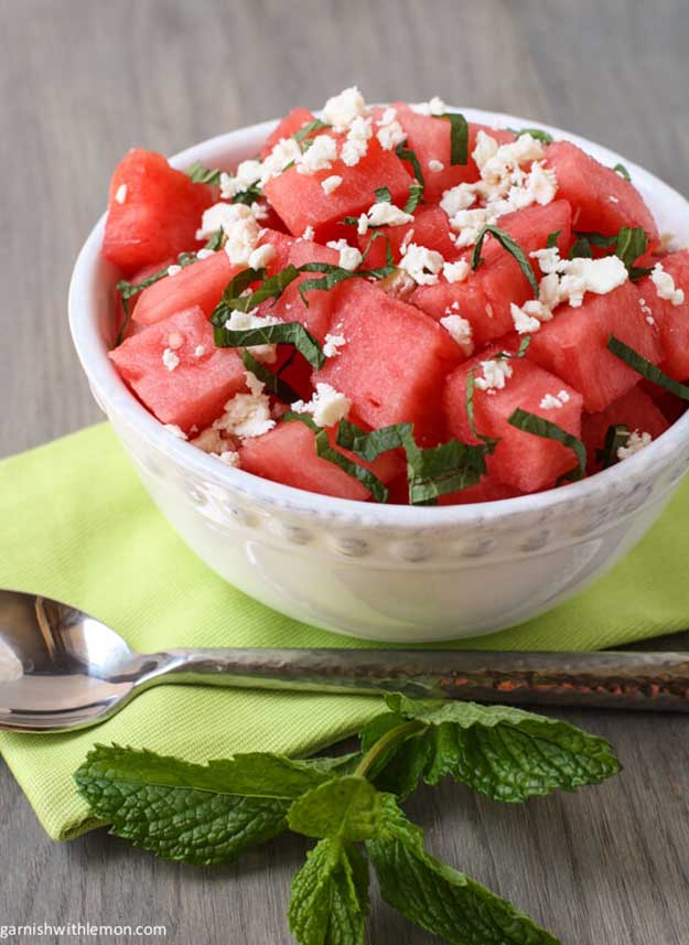 Labor Day Party Food Ideas - Watermelon & Feta Salad Recipe - DIY Projects & Crafts by DIY JOY at http://diyjoy.com/party-ideas-labor-day-food-diy-decor
