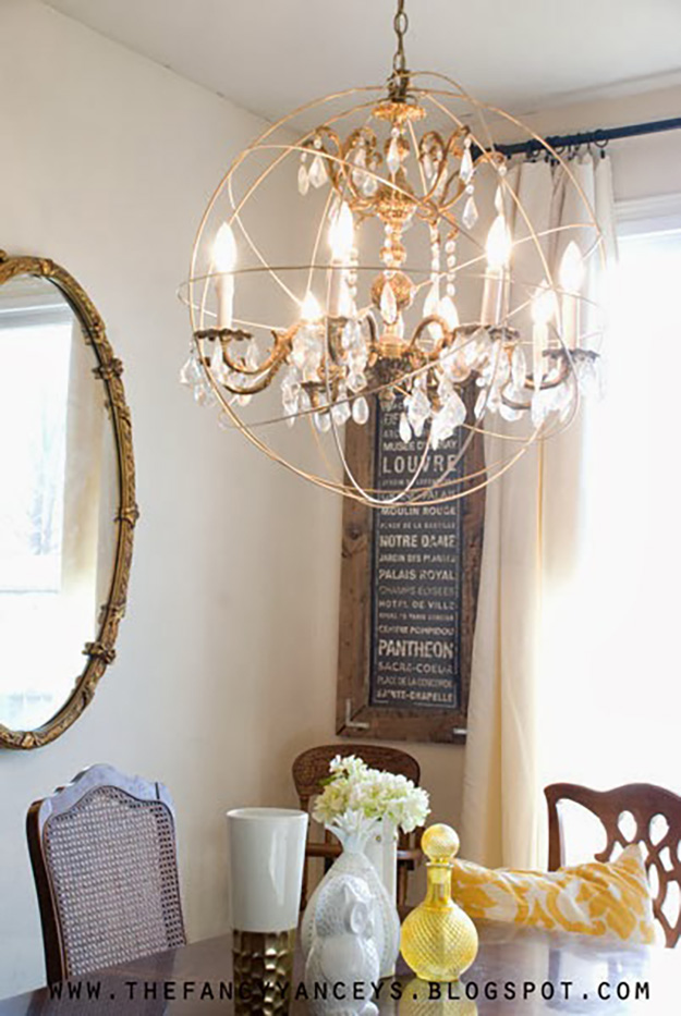 DIY Lighting Ideas and Cool DIY Light Projects for the Home. Chandeliers, lamps, awesome pendants and creative hanging fixtures,  complete with tutorials with instructions | Restoration Hardware Knockoff DIY Orb Chandelier | http://diyjoy.com/diy-projects-lighting-ideas