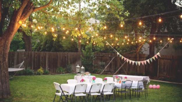 DIY Lighting Ideas and Cool DIY Light Projects for the Home. Chandeliers, lamps, awesome pendants and creative hanging fixtures,  complete with tutorials with instructions | Romantic DIY Backyard Lighting | http://diyjoy.com/diy-projects-lighting-ideas