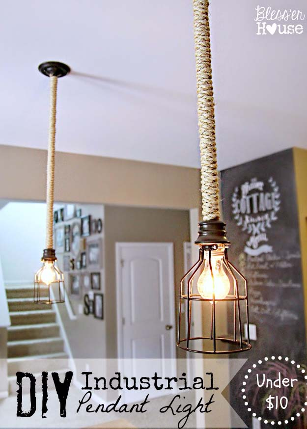 DIY Lighting Ideas and Cool DIY Light Projects for the Home. Chandeliers, lamps, awesome pendants and creative hanging fixtures,  complete with tutorials with instructions | Rope Wrapped Industrial DIY Pendant Light | http://diyjoy.com/diy-projects-lighting-ideas
