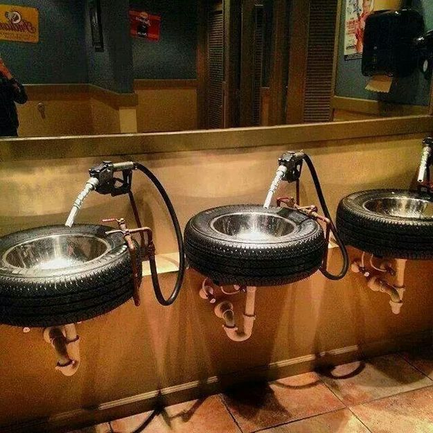 Tire Sinks with Gas Nozzle Faucets - DIY Joy