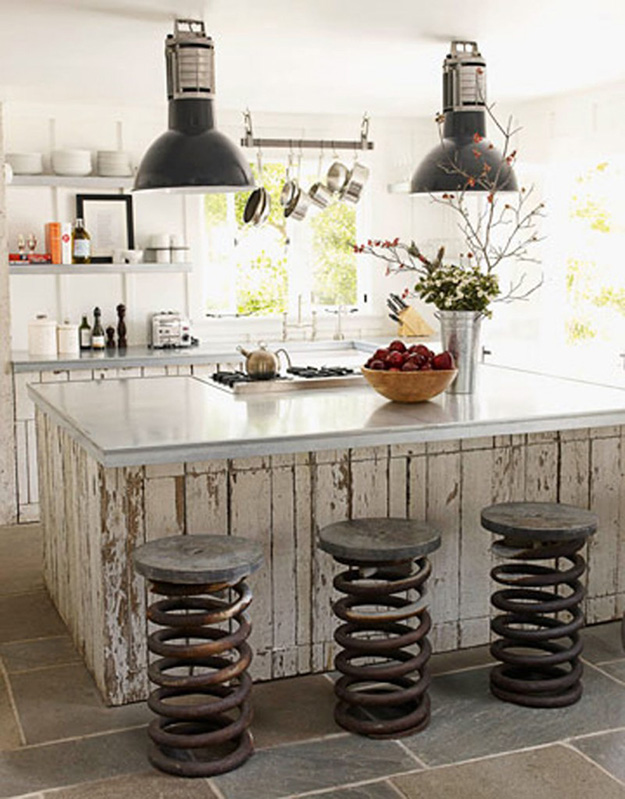 Upcycled Old Car Parts for Kitchen Decor - Truck Spring Bar Stools - DIY Projects & Crafts by DIY JOY at http://diyjoy.com/upcycling-diy-projects-car-parts