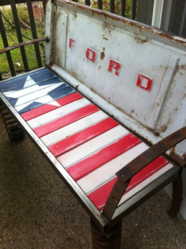 Repurposed Old Car Parts - Upcycled Tail Gate Bench - DIY Projects & Crafts by DIY JOY at http://diyjoy.com/upcycling-diy-projects-car-parts