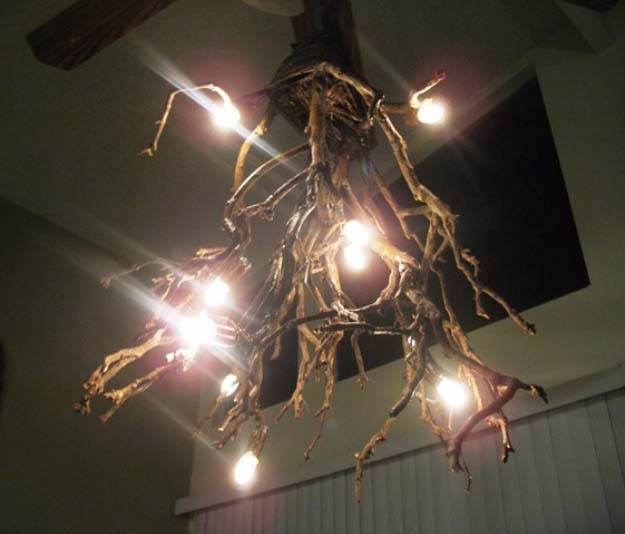 DIY Lighting Ideas and Cool DIY Light Projects for the Home. Chandeliers, lamps, awesome pendants and creative hanging fixtures,  complete with tutorials with instructions | Upcycled DIY Twig Chandelier | http://diyjoy.com/diy-projects-lighting-ideas