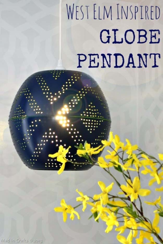 DIY Lighting Ideas and Cool DIY Light Projects for the Home. Chandeliers, lamps, awesome pendants and creative hanging fixtures,  complete with tutorials with instructions | West Elm Inspired DIY Perforated Pendant Light | http://diyjoy.com/diy-projects-lighting-ideas