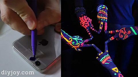 Make a DIY Black Light For Your Phone with the Magic of Sharpies and Scotch Tape | DIY Joy Projects and Crafts Ideas