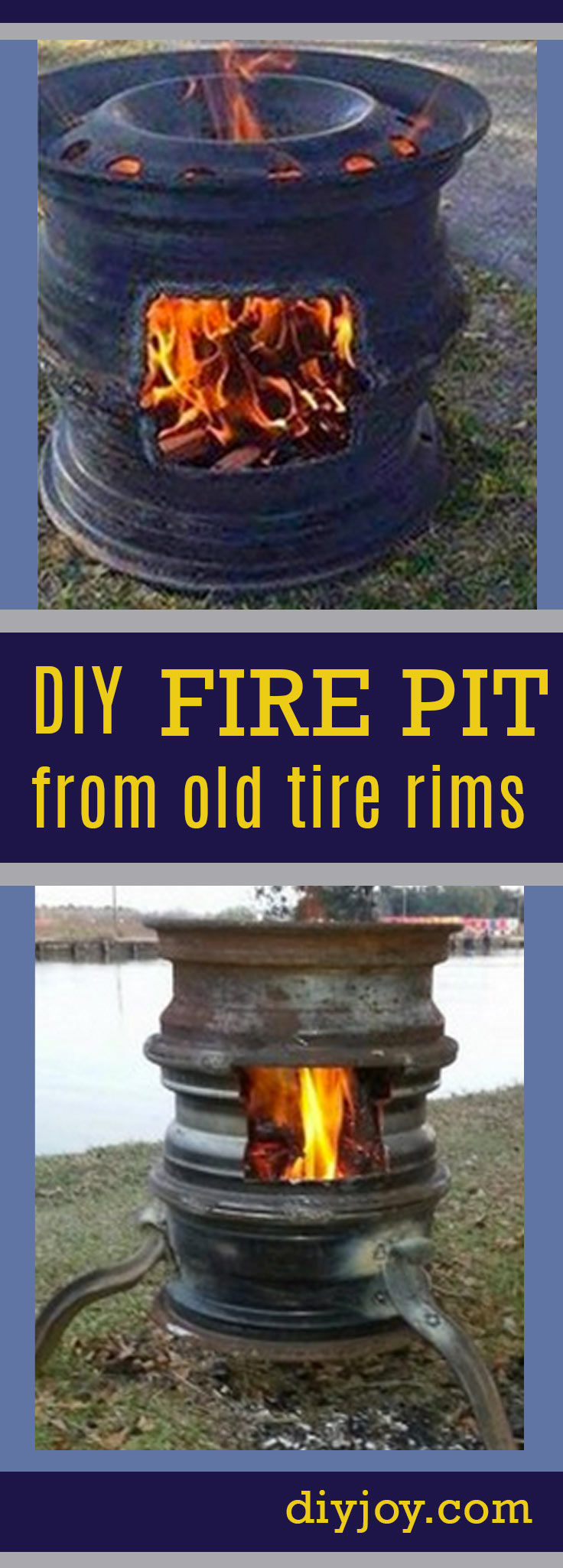 DIY Fire Pit from Old Tire Rims - Cheap DIY Fire pit made from car parts