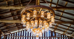 Wagon Wheel Chandelier Made with Mason Jars