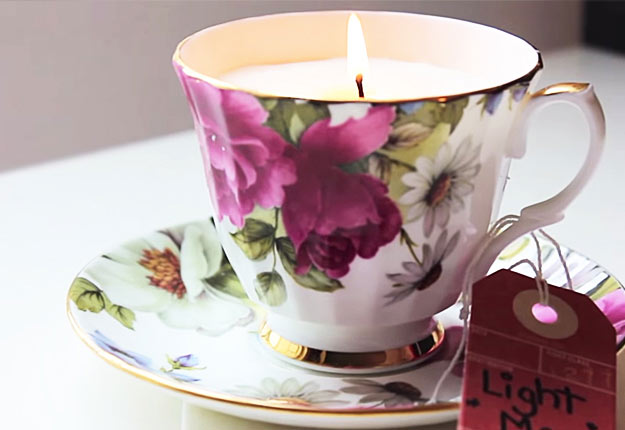 Easy DIY Projects for Teen Girls to Make for the Home - DIY Teacup Candles - DIY Projects & Crafts by DIY JOY at http://diyjoy.com/quick-diy-projects-fast-crafts-ideas