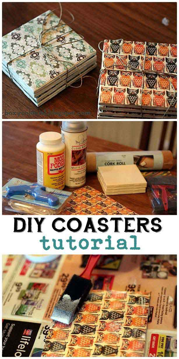 DIY Coasters Made From Tile, Scrapbook Paper and Mod Podge - Easy Creative Crafts Projects - DIY Projects & Crafts by DIY JOY at http://diyjoy.com/quick-diy-projects-fast-crafts-ideas